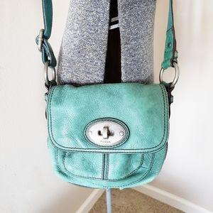 Fossil Green Leather Mini Crossbody Purse Bag
